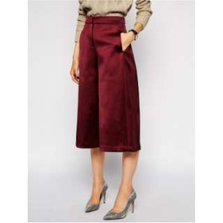 Culottes/Square 3/4 Pants (Silk red)