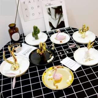 Ceramic decorative trinket trays