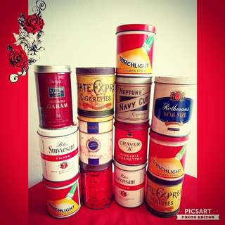 Vintage Collectable Cigarette Tins, no content. $15 to $25 each. Sms 96337309.