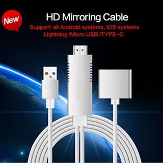 S9 Lightning to HDMI Cable USB to HDMI Adapter&3.5mm Audio Port 1080P HDTV Cable for Android, IOS(Lightning/Micro USB/Type-C)