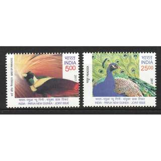 INDIA 2017 PAPUA NEW GUINEA JOINT ISSUE PEACOCK & BIRD OF PARADISE COMP. SET OF 2 STAMPS IN MINT MNH UNUSED CONDITION