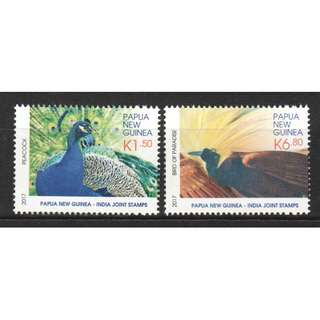 PAPUA NEW GUINEA 2017 INDIA JOINT ISSUE PEACOCK & BIRD OF PARADISE COMP. SET OF 2 STAMPS IN MINT MNH UNUSED CONDITION