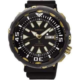 Seiko Prospex SRPA82K1 Automatic Black Gold Diver's Jam Pria SRPA82 Rubber