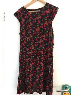 Dangerfield Cherry Dress 50s Rockabilly Vintage Retro Pin Up 14