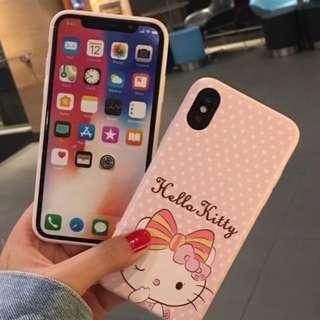 手機殼IPhone6/7/8/plus/X : HelloKitty吉蒂貓粉色波點全包邊軟殼