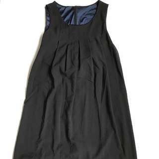 Navy Pleated Shift Dress