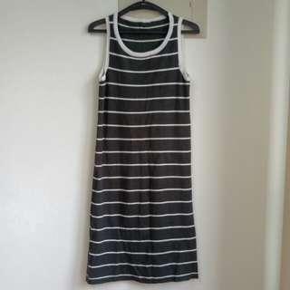 無袖洋裝  條紋背心裙