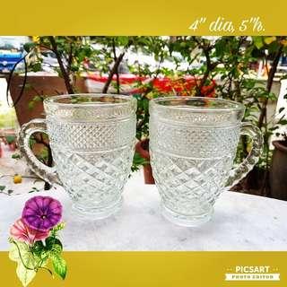 Vintage Handsome Glass Mugs for Sale. Unused, Good Condition, no chip no crack. 2pcs for $8 offer. Sms 96337309.