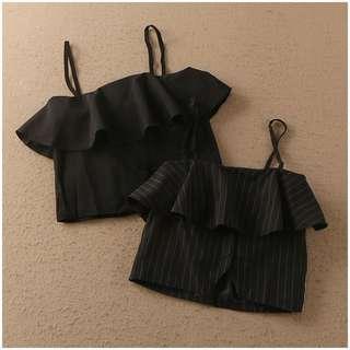 ❤️️ Off Shoulder crop top singlet ruffles half cup top H&M inspired