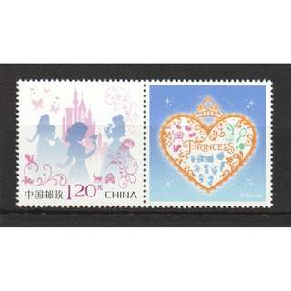 P.R. OF CHINA 2017 I-47 DISNEY PRINCESSES INDIVIDUALIZED STAMP WITH LABEL 1 STAMP IN MINT MNH UNUSED CONDITION