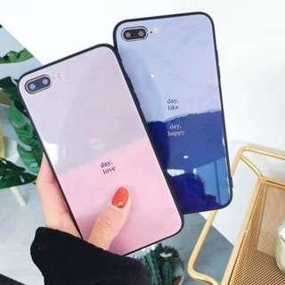 手機殼IPhone6/7/8/plus/X : 簡約拼色全包黑邊玻璃背板殼