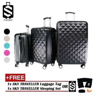 SKY TRAVELLER SKY281 Premium ABS 3-In-1 Hard Case Diamond Luggage With 8 Wheels Set (20Inch+24Inch+28Inch)