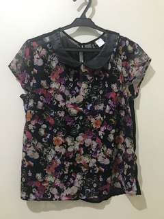 H&M Floral Chiffon Top w/ Leatherette Collar