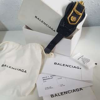 AUTH Balenciaga Black leather Bracelet w ghw