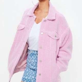 Missguided Pink Borg Trucker Oversized Jacket