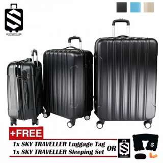 SKY TRAVELLER SKY284 Big Stripe 3-In-1 Ultralight Luggage Set (20Inch+24Inch+28Inch)