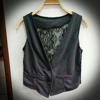 Dark Gray Vest (lace back)