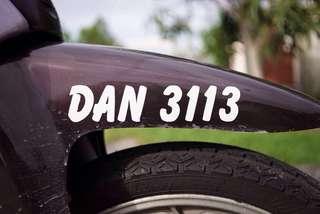 Plate Number untuk dijual sekali dengan motor