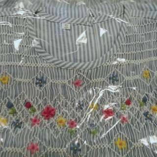 Size 5 & 3 girls long dress sleeveless stripes flower embroidery