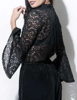Truth or Flare Lace Top — BLACK