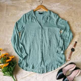GREEN CHINESE COLLAR BLOUSE