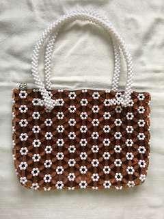beaded brown/white bag