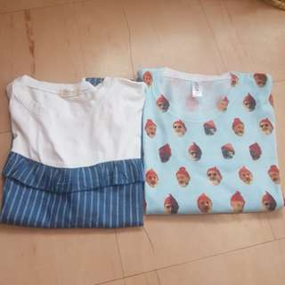 Bundle: Korean Blouse and Cottony Tshirt