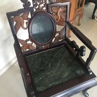 2 antique Chinese Chairs with Marble Inlay