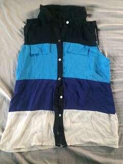 Blue Stripes Button Down Blouse