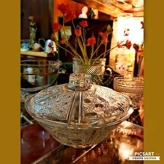 """Vintage Cut-Glass Candy Bowl with Cover. Unused, Good Condition, $5 clearance offer. Sms 96337309.About 6.5"""" across."""