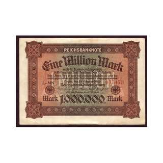 德國紙幣1百萬馬克