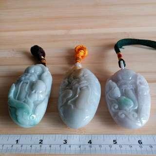 一手三隻 緬甸a玉 壽星公手把件或作擺件 大約三吋半到四吋, 單隻價錢 $888