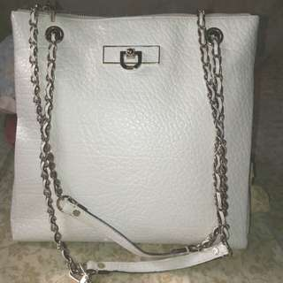 DKNY(Donna Karan New York) Genuine Leather White Crossbody Shoulder Bag