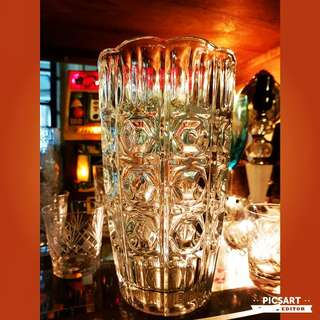 """Vintage Cut-Glass Vase. Big, about 6"""" dia & 10"""" tall. Good Condition, no cjip no crack. $15 offer, Sms 96337309 for viewing."""