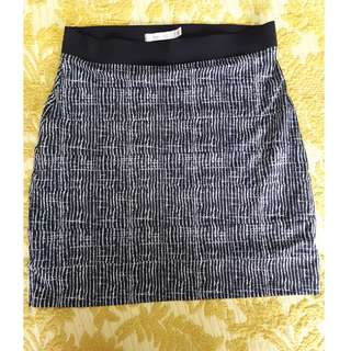 Stripe printed fitted cotton skirt