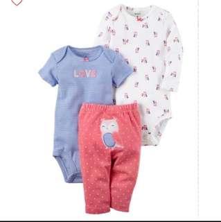 *9M* Brand New Carter's 3-Piece Little Character Set For Baby Girl