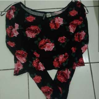 Crop top flowers Divided H&M size Xs