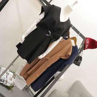 ❤️️ Formal Chiffon dress short sleeve vneck with metal belt