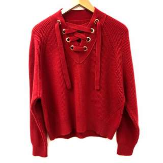 Zadig & Voltaire red knitted sweater top size XS
