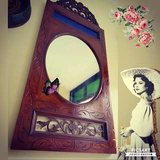 "1950s Vintage Peranakan Hand-Carved Frame with Mirror for Sale. Teakwood. Quite Large. 20.5"" l x 40.5""h. $268 offer, Sms 96337309 for viewing."