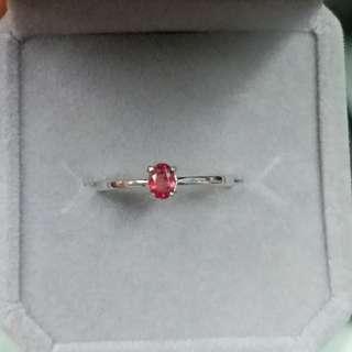 925銀鑲橙粉色藍寶石戒指