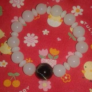 White jade n blue tiger eye bracelet