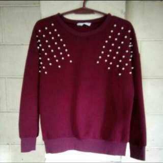FREE SF🎉🚚 Maroon Pearl Embelished Pullover
