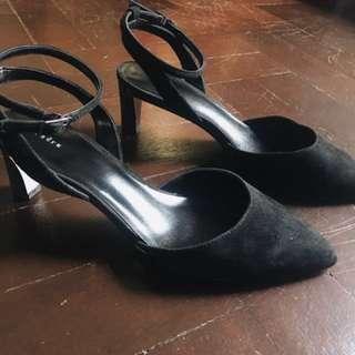 PEDRO Black Suede Pointed-toe Heels