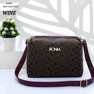 Bonia Sling Bag Wine Color
