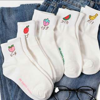 🐾Harajuku japanese words long fruit Socks
