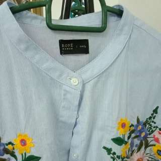 ROPE Embroidery Shirt Light Blue