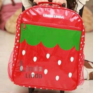 Strawberry Linda Linda Korean Kids Children Rolling Trolley School Bags Backpack
