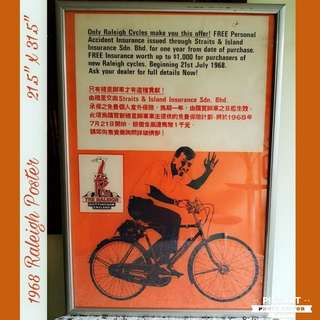 Vintage Huge Raleigh Poster in Wooden Frame for Sale. $148 clearance offer, Sms 96337309.