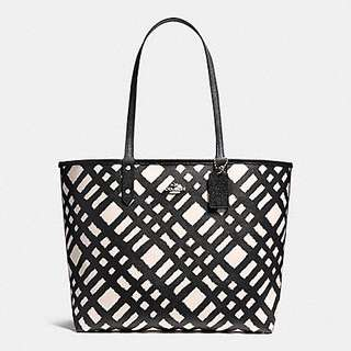 REVERSIBLE CITY TOTE BAG WITH WILD PLAOD PRINT